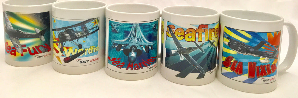 Navy Wings Pop Art Mugs - Seafire, Swordfish, Sea Vixen, Sea Fury and Sea Harrier or buy a set of 5
