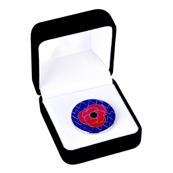 Remembrance lapel pin - Fleet Air Arm zigzag and Poppy enamel pin