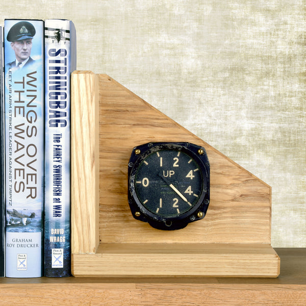 Navy wings handmade genuine classic aircraft gauge oak bookends (Pair)