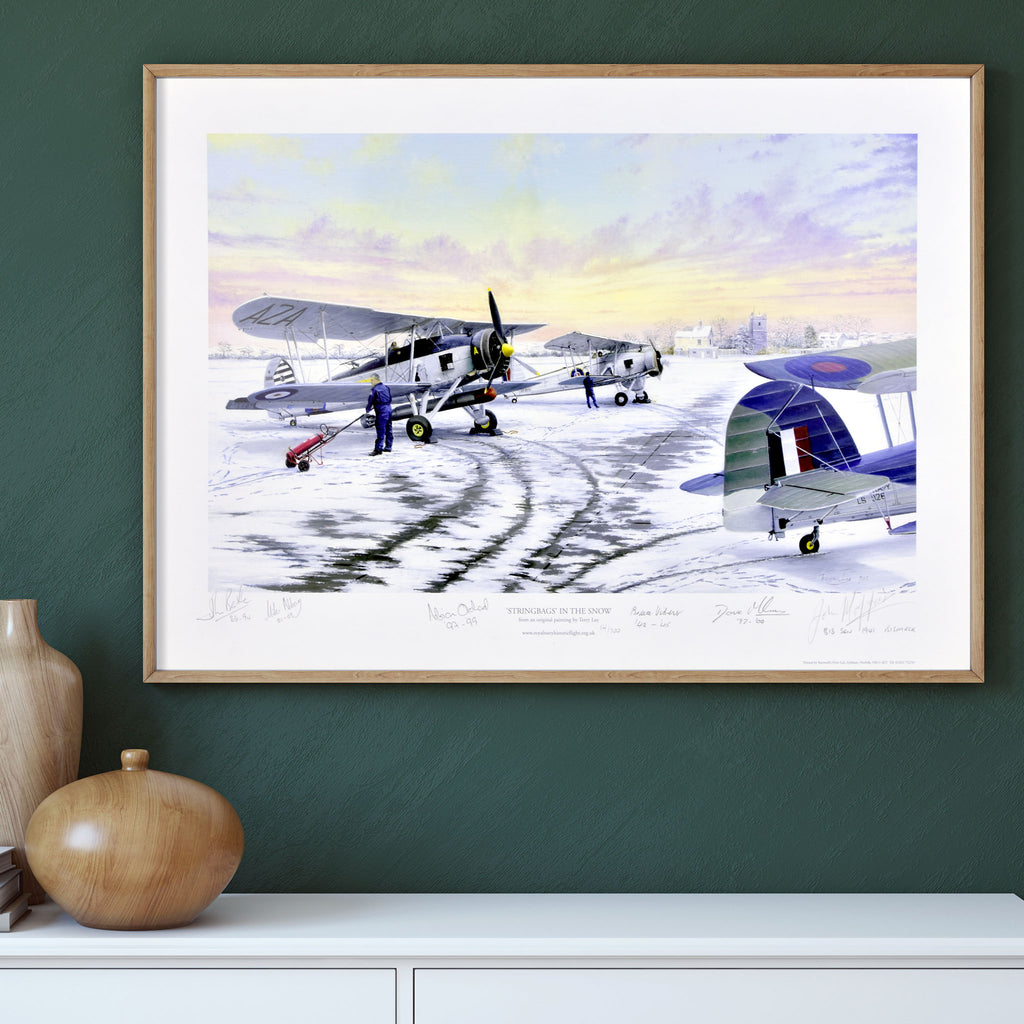 Swordfish in the Snow. Limited edition signed by veteran WWII & RNHF Pilots including Jock Moffat and Bruce Vibert