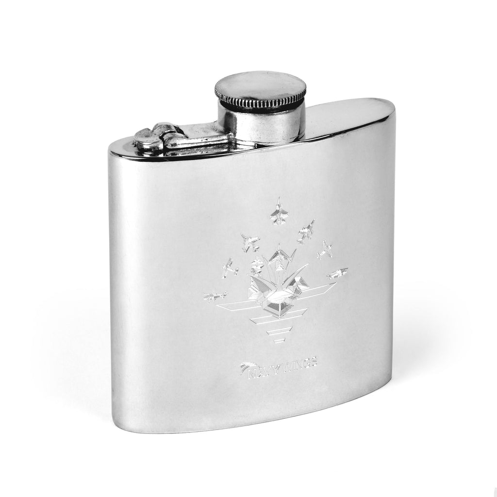 Navy Wings Pewter Kidney Hip Flask with Captive Top
