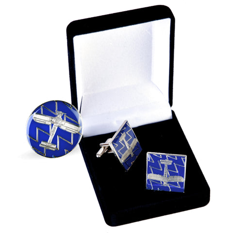 Azure & Silver Swordfish Cufflinks & Lapel Pin