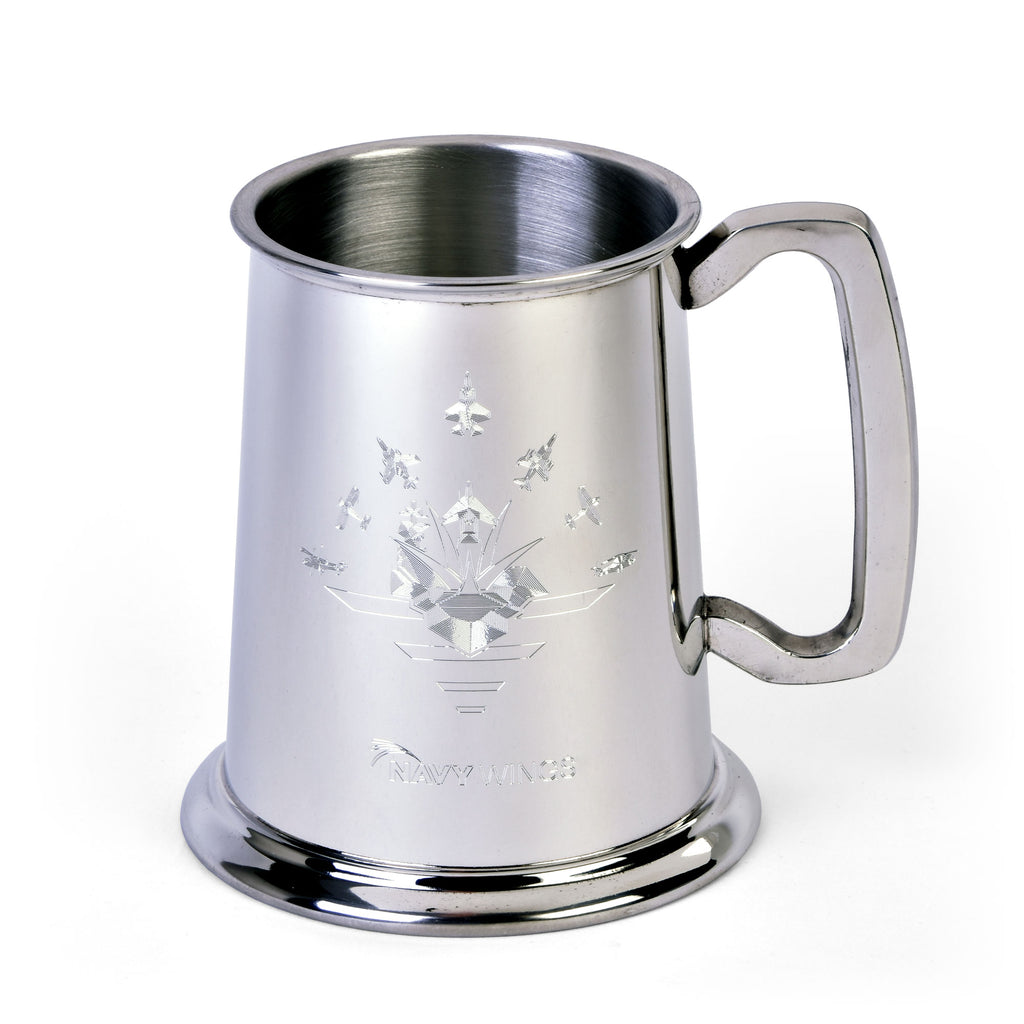 Navy Wings Glass Base 1 Pint Pewter Tankard
