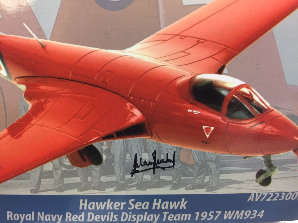 Hawker Sea Hawk. (Red Devils Display Team) Signed by Team Leader Captain Alan Leahy  Diecast model. Scale 1/72 (A72)