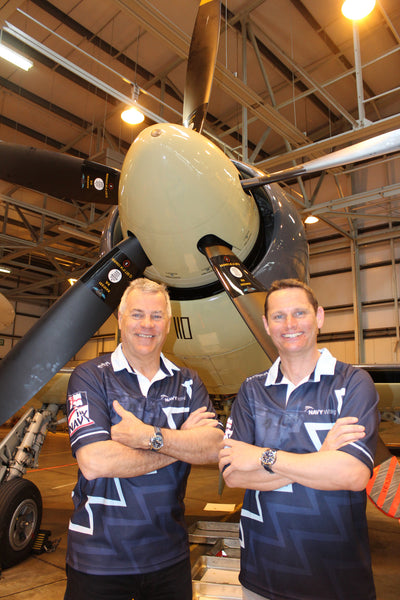 Jock Alexander, Chris Goetke, Navy Wings rugby shirts and Sea Fury