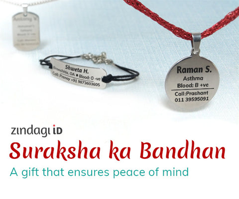 zindagi id suraksha ka bandhan, tag in surgical steel. pendant and bracelets for elderly and differently abled in India