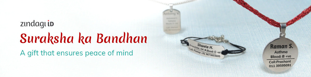 hey zindagi medical id suraksha ka bandhan , tag in surgical steel. pendant and bracelets for elderly and differently abled