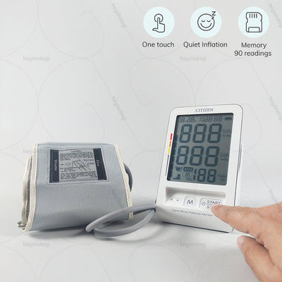 Digital BP machine (CH-456) by Citizens Japan. Single touch operation. Records previous 90 readings in memory  | exclusively available at www.heyzindagi.com