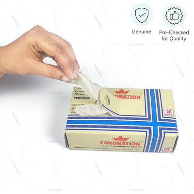 100% Genuine white latex gloves. Pre-checked for quality by Coronation India  | Hey Zindagi Solutions for elders