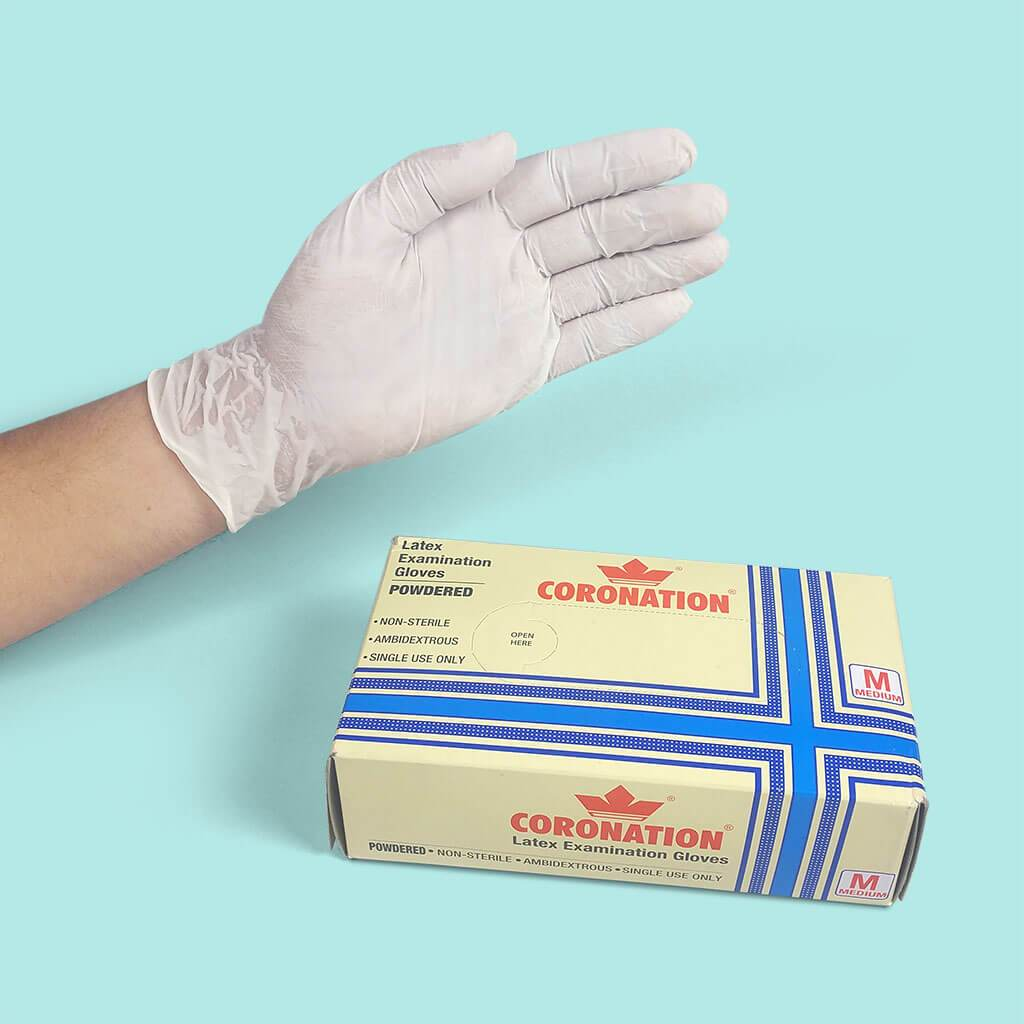 Latex Examination Gloves (Powdered, Non-Sterilised) - 100 pcs