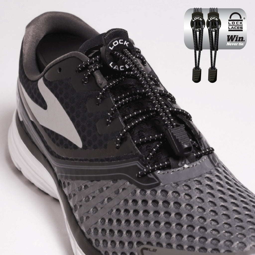 dbee87b4b Elastic Shoe Laces in Black to convert sports or formal shoes with laces to  slip-