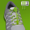 sports shoe laces in Green to convert sports or formal shoes with laces to slip-on style. Require one-time installation. Pull to adjust fit.