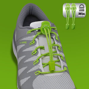 Elastic Shoe Laces in Green to convert sports or formal shoes with laces to slip-on style. Require one-time installation. Pull to adjust fit.