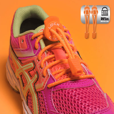Elastic Shoe Laces in orange to convert sports or formal shoes with laces to slip-on style. Require one-time installation. Pull to adjust fit.
