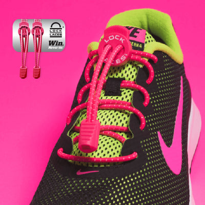 Elastic Shoe Laces in Pink to convert sports or formal shoes with laces to slip-on style. Require one-time installation. Pull to adjust fit.