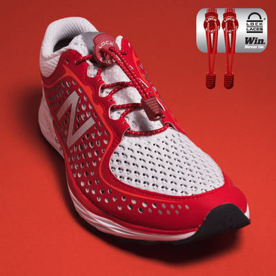 Elastic Shoe Laces in Red to convert sports or formal shoes with laces to slip-on style. Require one-time installation. Pull to adjust fit.