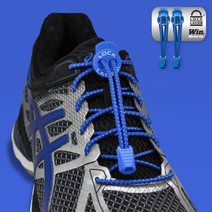 Elastic Shoe Laces in Royal Blue to convert sports or formal shoes with laces to slip-on style. Require one-time installation. Pull to adjust fit.