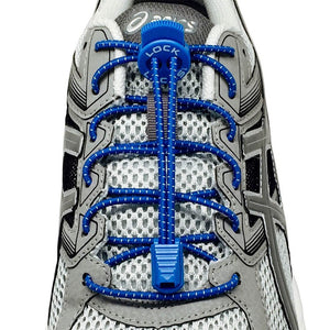 Elastic Shoe Laces in Blue to convert sports or formal shoes with laces to slip-on style. Require one-time installation. Pull to adjust fit.