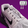 Running Shoe Laces in White to convert sports or formal shoes with laces to slip-on style. Require one-time installation. Pull to adjust fit.