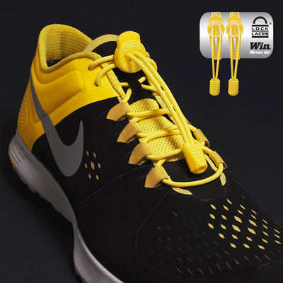 Elastic Shoe Laces in yellow to convert sports or formal shoes with laces to slip-on style. Require one-time installation. Pull to adjust fit.