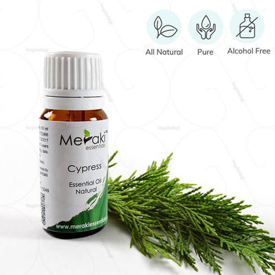 100% Natural, Pure & Alcohol free Cypress Essential Oil to improve blood circulation by Meraki Essentials |at heyzindagi.com