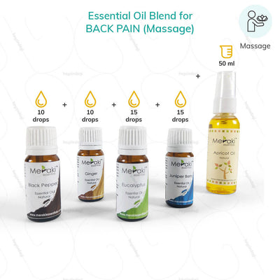 Essential Oil Blends for Back Pain - Combo of  Ginger Oil, Black Pepper Oil,  Eucalyptus Oil, Juniper Berry Oil with Apricot Oil,