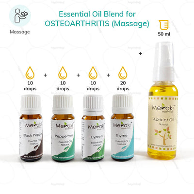 Essential Oil Blend for Osteoarthritis - Combo of Black Pepper Oil, Peppermint oil, Thyme Oil, Cypress Oil with Apricot Oil