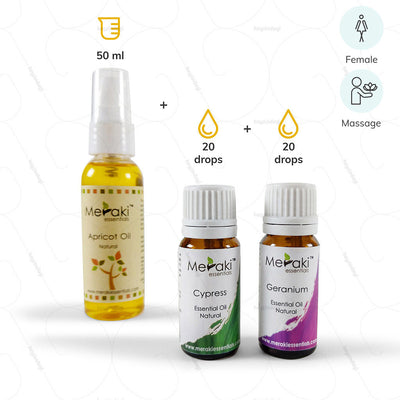 Aromatherapy Massage Essential Oil Combo for women - 20 drops Cypress Oil, 20 Drops Geranium Oil and 50 ml Apricot Oil by Meraki | Shop at Hey Zindagi