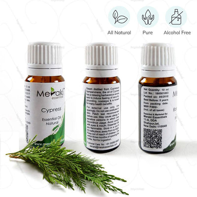 100% Natural, pure & alcohol free Cypress Essential Oil to reduce the diameter of blood Vessel by Meraki | Order from heyzindagi.com