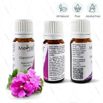 100 % Natural, Pure & Alcohol free geranium essential oil to help control the urge to urinate by Meraki - Buy online at www.hezindagi.com