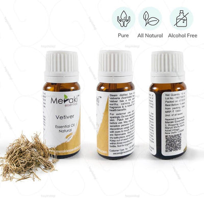 Pure & alcohol-free Vetiver essential oil (MERESBL01) by meraki essentials | available at heyzindagi.com