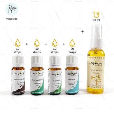 Aromatherapy essential oils blend by Meraki essentials. Massage to aid osteoarthritis  | heyzindagi.com- shipping done all over India