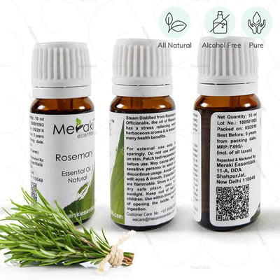 100 % natural rosemary essential oil by Meraki essentials. Pure & free from alcohol | heyzindagi.com- EMI option available for payment