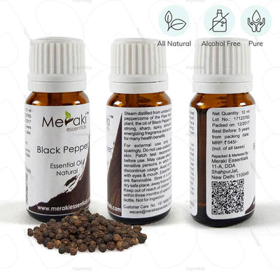 100 % natural black pepper essential oil by Meraki essentials. Pure & free from alcohol | shop online at heyzindagi.in