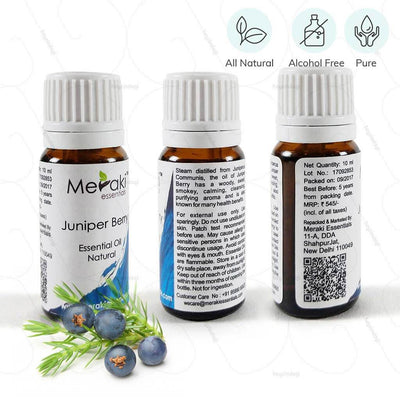 100% natural juniper berry essential oil by Meraki essentials. Pure & free from alcohol | heyzindagi.in-shipping done all over India