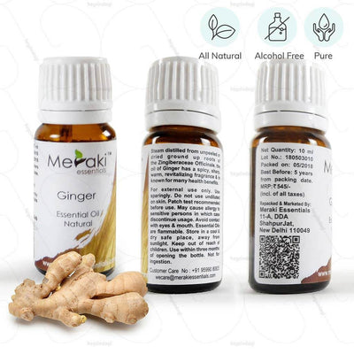 100% natural ginger essential oil by Meraki essentials. Pure & free from alcohol | heyzindagi.in- an online shop for elders