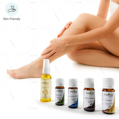 Essential oils combo by Meraki essentials for joint pain relief. Suitable for all skin type | available at heyzindagi.com