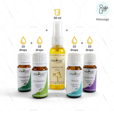 Essential Oils for Snoring- Massage with  10 drops Lavender Oil, 10 drops Peppermint Oil, 10 drops Eucalyptus Oil, 10 drops Thyme & 50 ml of Apricot Oil by Meraki Essential | Heyzindagi solutions