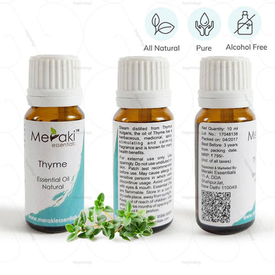 100 % Natural, Pure and Alcohol free Thyme Essential Oil to help clear blocked airways by Meraki Essentials | at heyzindagi.com