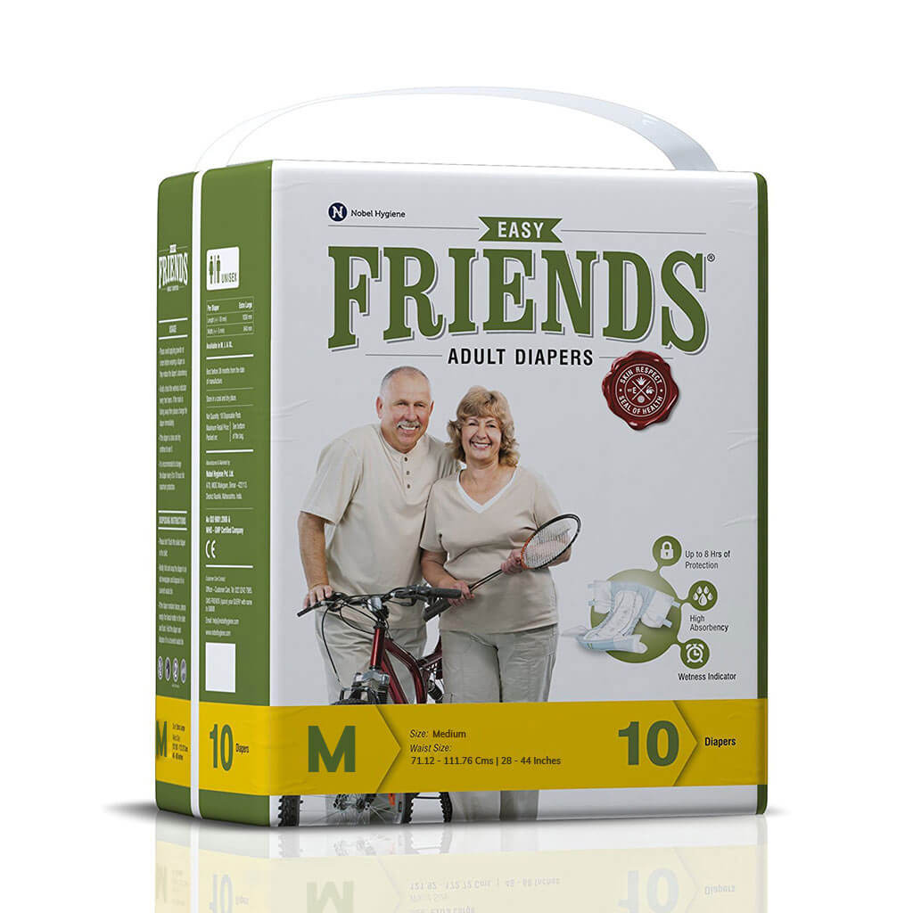 Friends Adult Diapers by Nobel Hygiene India. Comes in M/L/XL variants | Order online at Heyzindagi.in