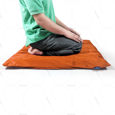 Buckwheat Hull Yoga Cushion Orange (NUYM01) by Nutribuck India