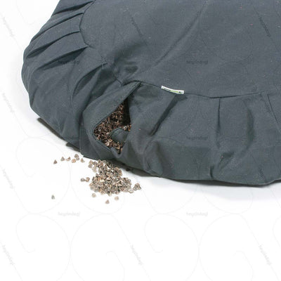 Buckwheat Hull Zafu Meditation Cushion Grey (NUZP01) by Nutribuck India