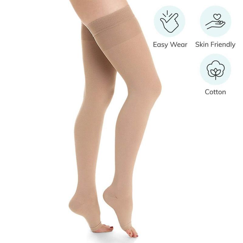 Cotton-blend Medical Compression Stockings for Varicose Veins & DVT (Class II)