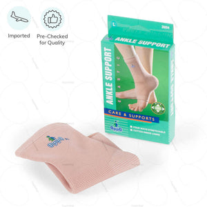 Oppo Ankle Support Sleeve with a 4-way stretch fabric for weak or sprained ankles as worn. Product Code 2004