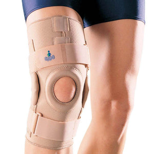 High-quality Breathable Neoprene and dense foam padded donut with removable hinged metal stays.Hinged Knee Stabilizer (Breathable Neoprene) 1031 by Oppo Medica.