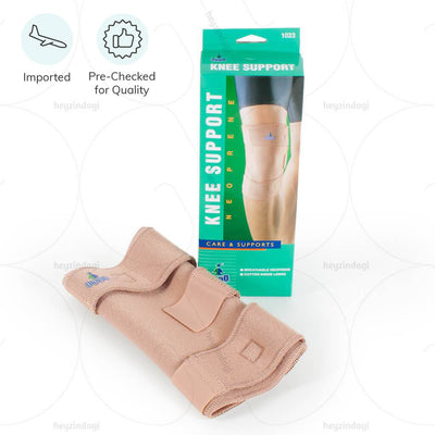 Wrap around style Knee Support made of Breathable Neoprene. Stabilises Weak Knees and improves healing by retaining heat. Provides pain relief with customisable compression. Knee Support Closed Patella (Breathable Neoprene) 1023 by Oppo Medical
