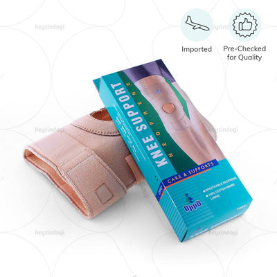 Knee Support with Open Patella (Breathable Neoprene) 1024 by Oppo Medical as worn around the knee.