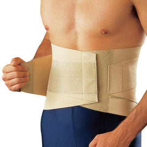 Support for the Lower Back with adjustable compression levels managed through removable metal stays and additional side straps