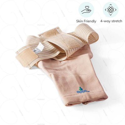 Elastic shoulder support (2072) by Oppo Medical USA. Stretchable spandex for comfortable motion. Suitable for all skin types | Order online at amazon.in