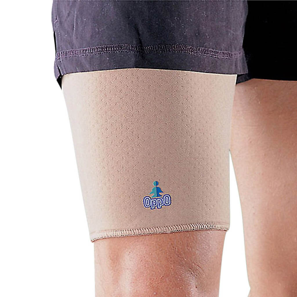 Pain relief for pulled hamstring or thigh muscles and support in case of weak upper leg. Made by Oppo Medical.